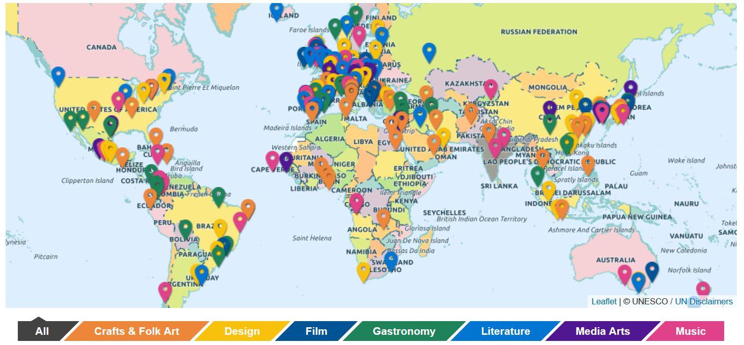 Mapa da Rede de Cidades Criativas