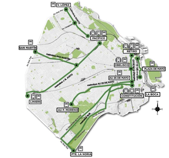 Mapa Dos Corredores Do Metrobus E Os Pontos De Integração Com Os Demais Transportes Da Cidade