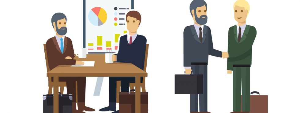 Business Job Interview, Brainstorming, Sale Closing, Handshake And Various Charts. Flat Icon Set. EPS 10 Vector.