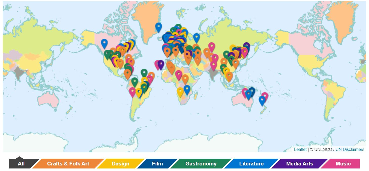 UNESCO Creative Cities Map.