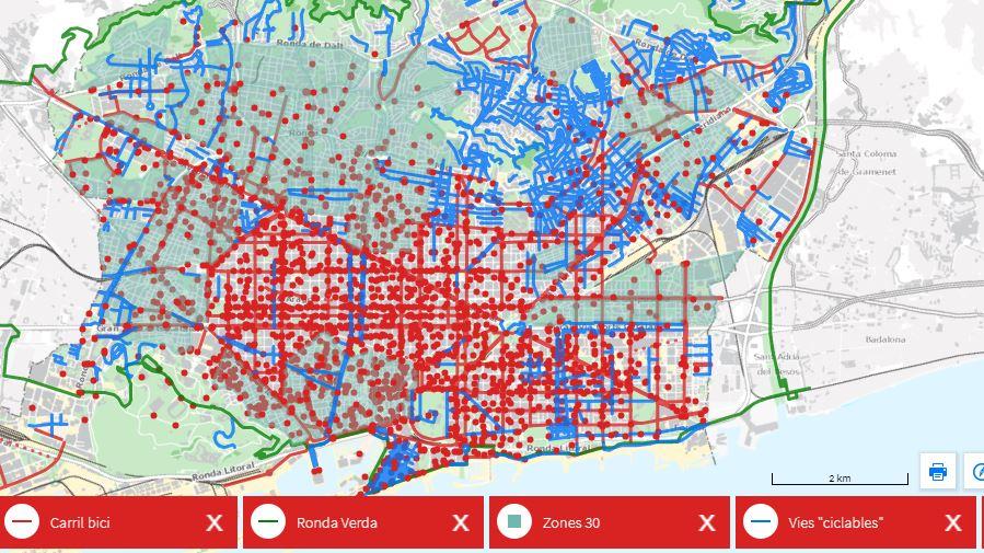 Mapa De Estacionamento De Bicicletas Em Barcelona. Fonte: